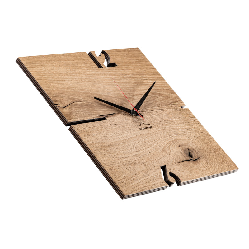 Holz Wanduhr Puhr Huamet Eichenholz eckig