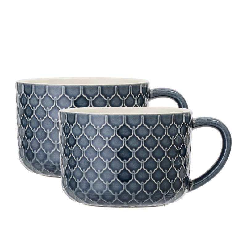 Kaffeetasse Naomi 2er-Set Blau Dekor 1